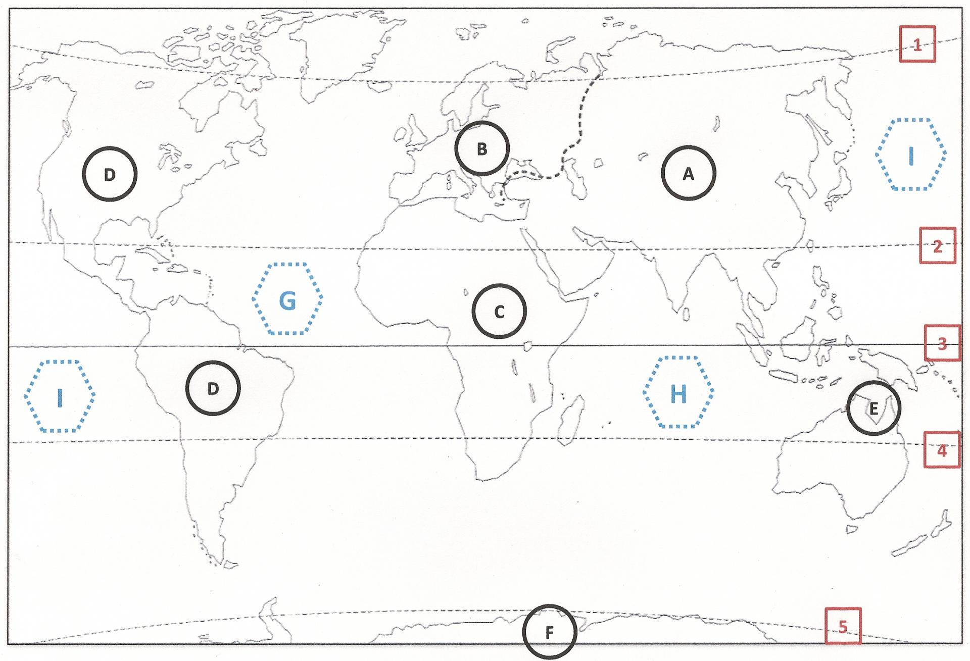 Repères Planisphère 6Ème. encequiconcerne Carte Du Monde À Compléter En Ligne