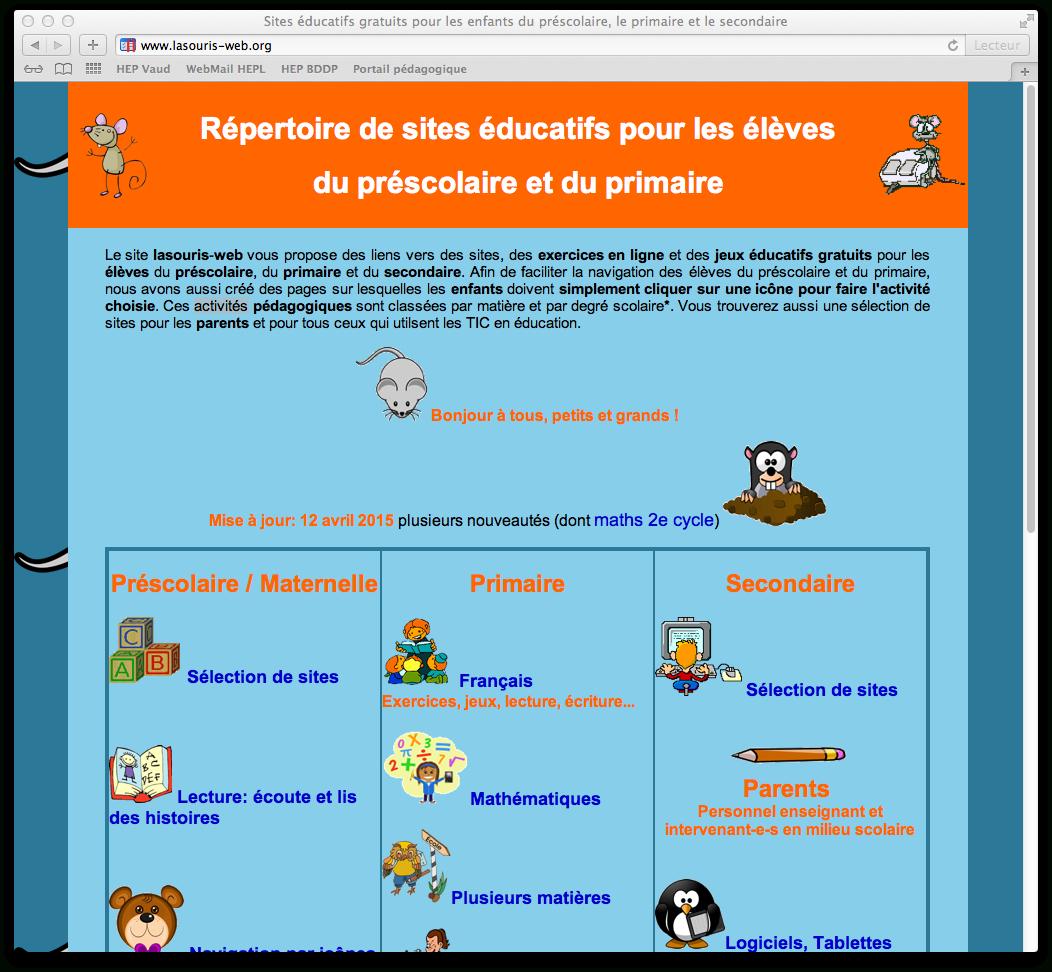 Répertoire De Sites Éducatifs Interactifs Pour Les Élèves Du tout Jeux Interactifs Primaire