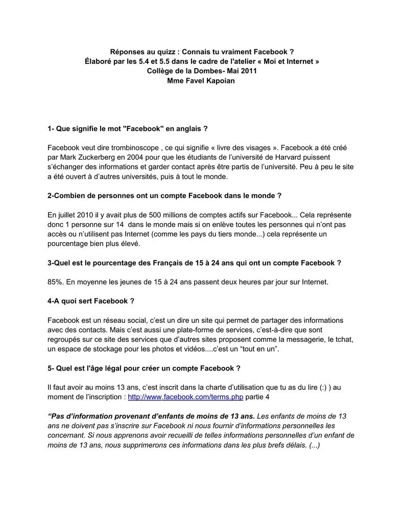 Réponses Au Quizz : Connais Tu Vraiment Facebook ? Élaboré Par destiné Quizz Enfant