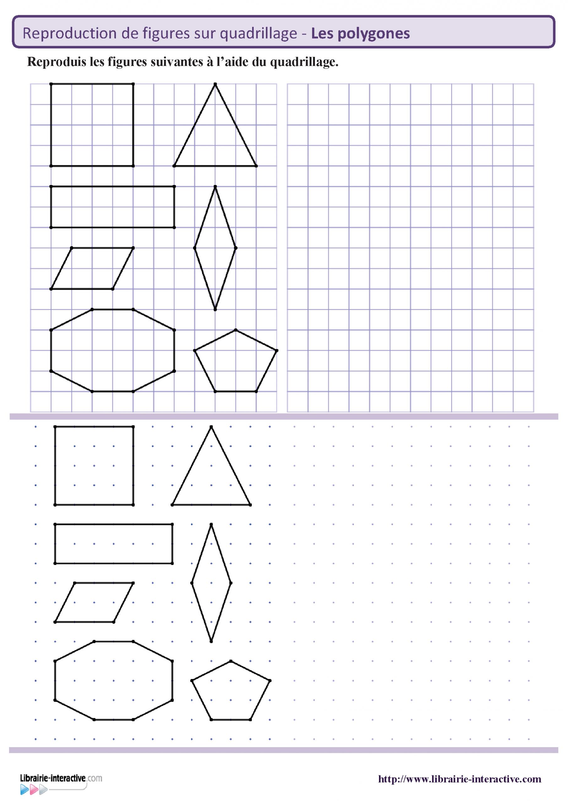 Reproduction Des Principaux Polygones Sur Quadrillage Et pour Évaluation Reproduction Sur Quadrillage Ce1