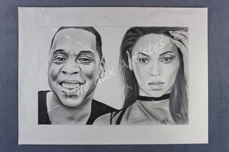 """Reproduction Dessin """"beyonce & Jay-Z"""" dedans Image De Dessin A Reproduire"""