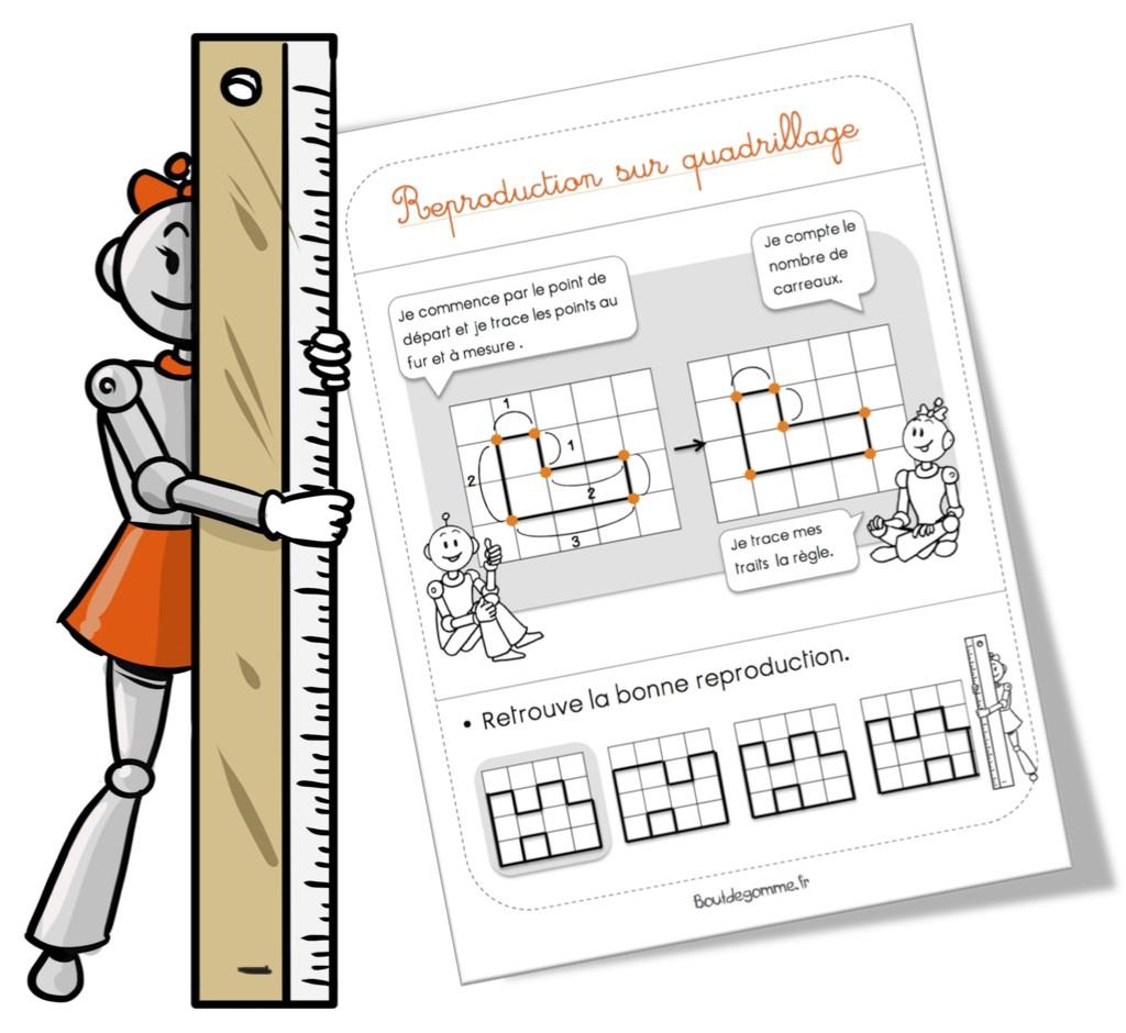 Reproduction Sur Quadrillage | Bout De Gomme destiné Exercice Reproduction Sur Quadrillage Ce1