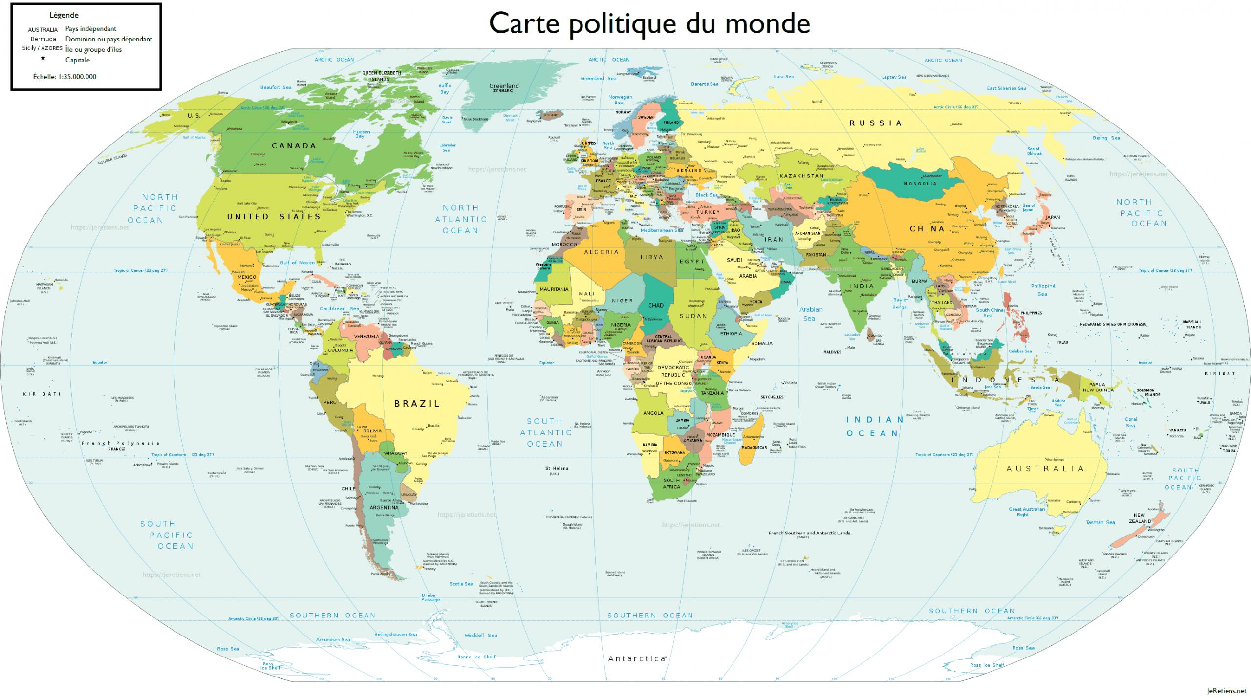 Retenir Tous Les Pays Du Monde Et Leur Capitale à Carte Du Monde En Ligne
