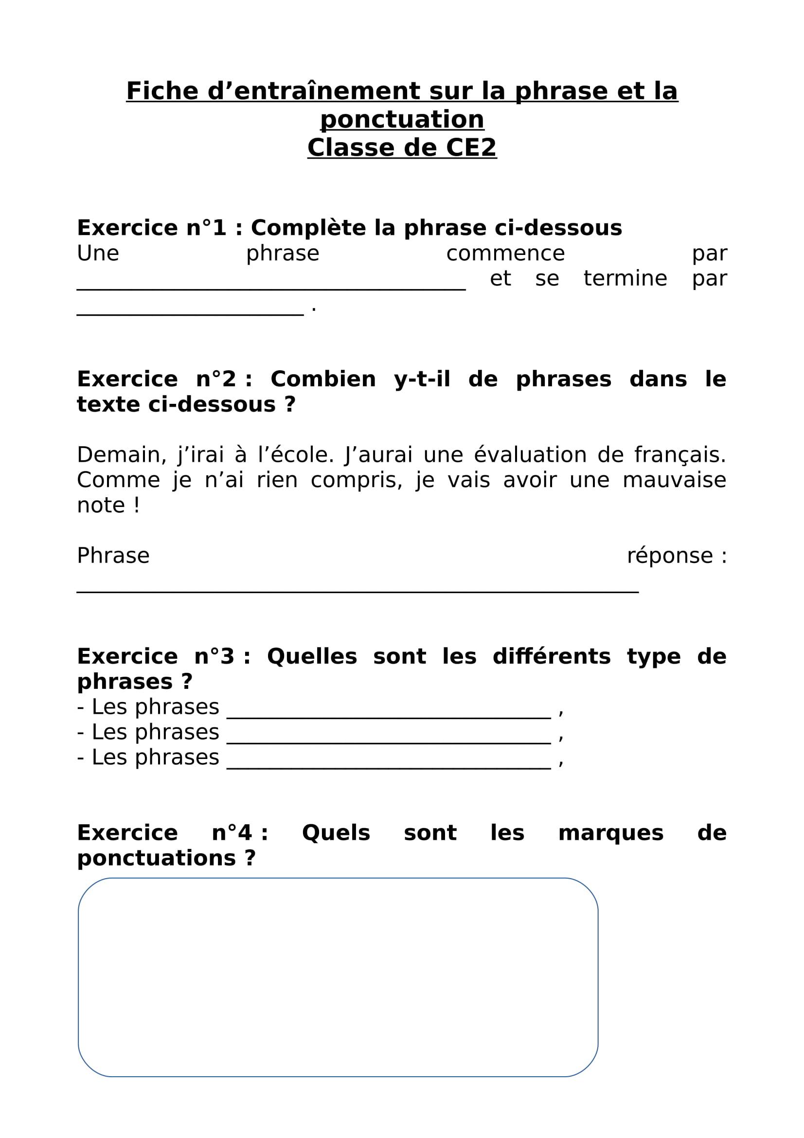 Révision Scolaire} Fiche D'entrainement Sur La Phrase Et La tout Fiche De Français Ce2