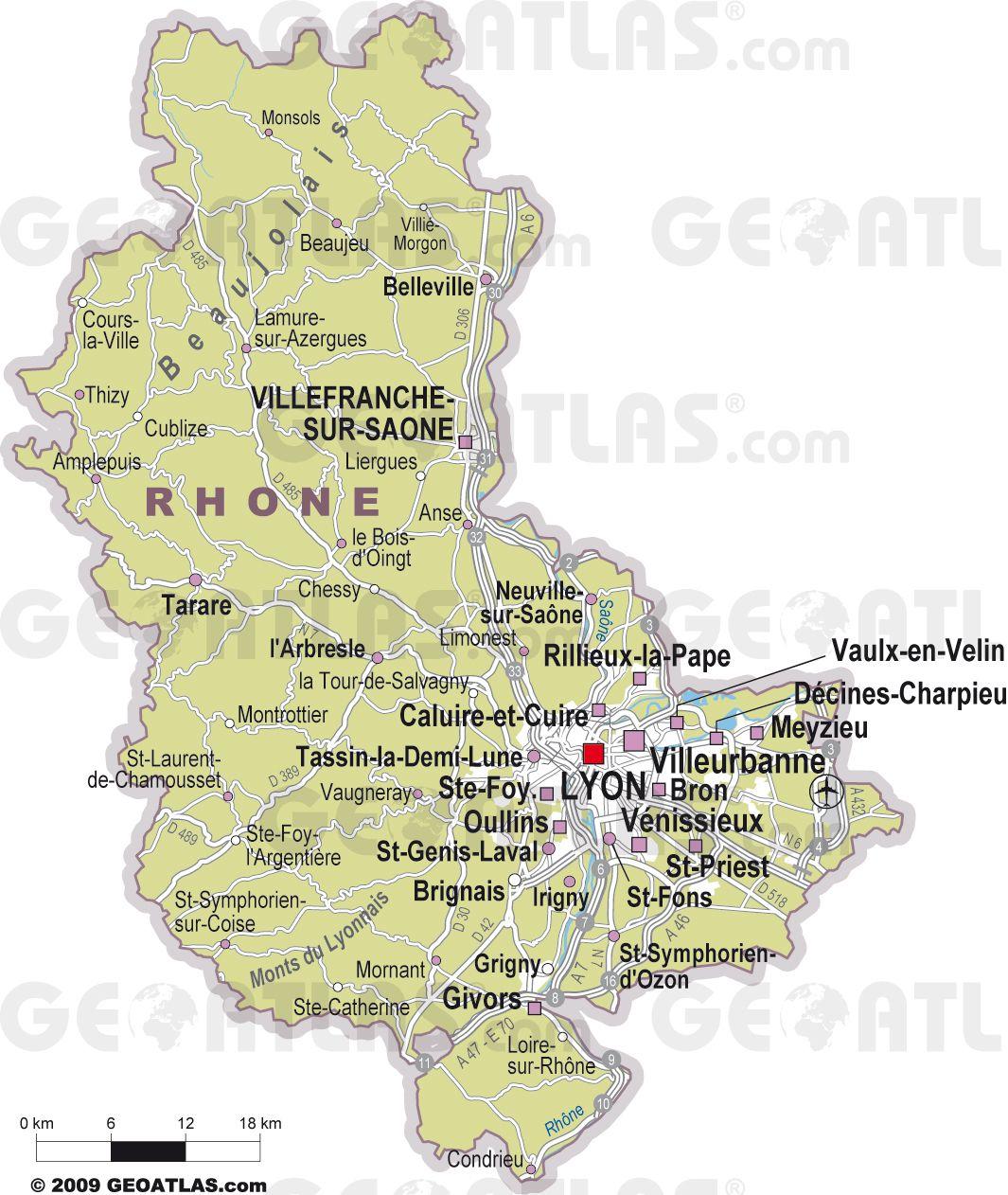 Rhône - Département 69 - Voyages - Cartes à Carte Des Départements Et Villes