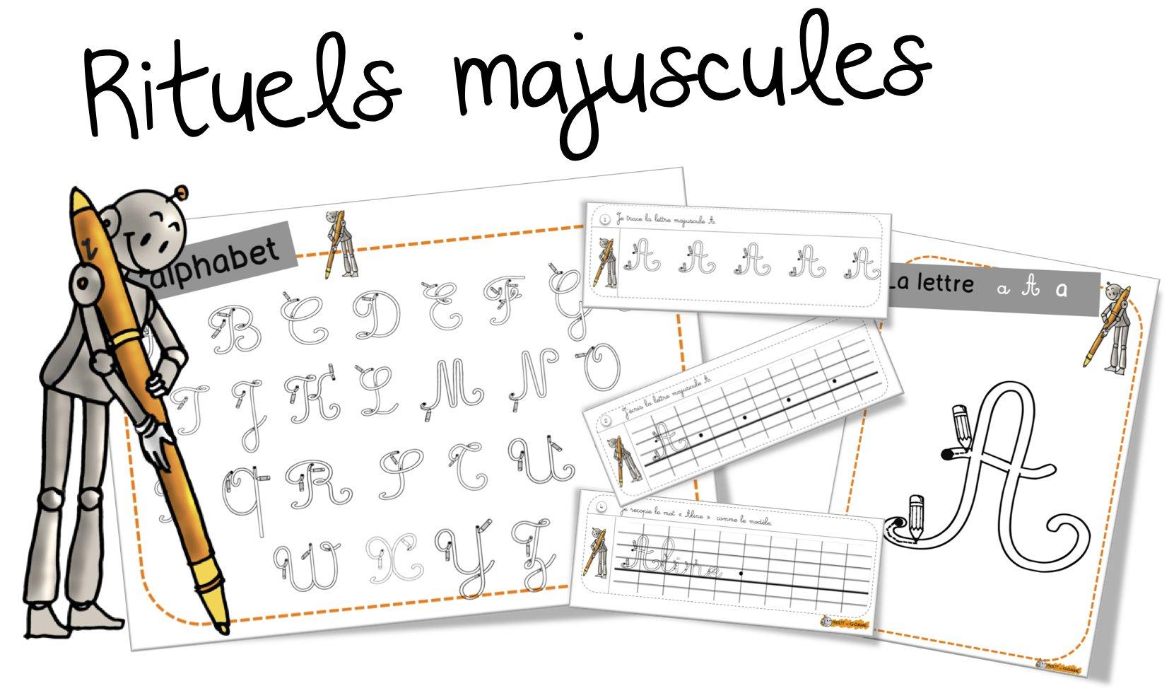 Rituels Écriture : Les Majuscules | Bout De Gomme intérieur Écriture Des Lettres Majuscules