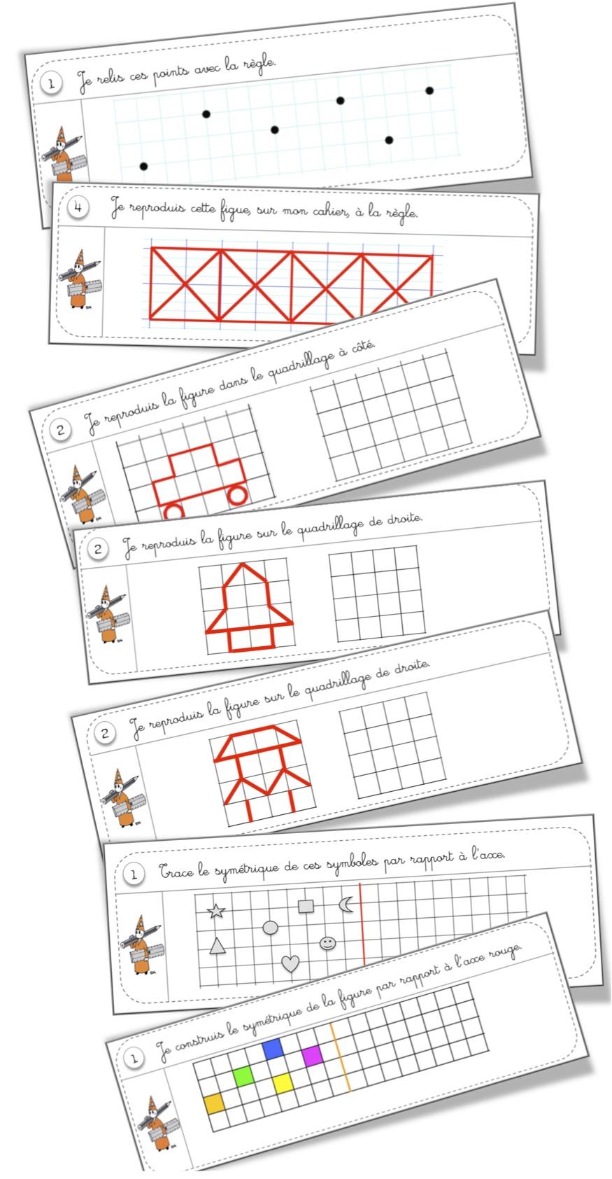 Rituels Géométrie | Bout De Gomme avec Reproduction Quadrillage Ce1