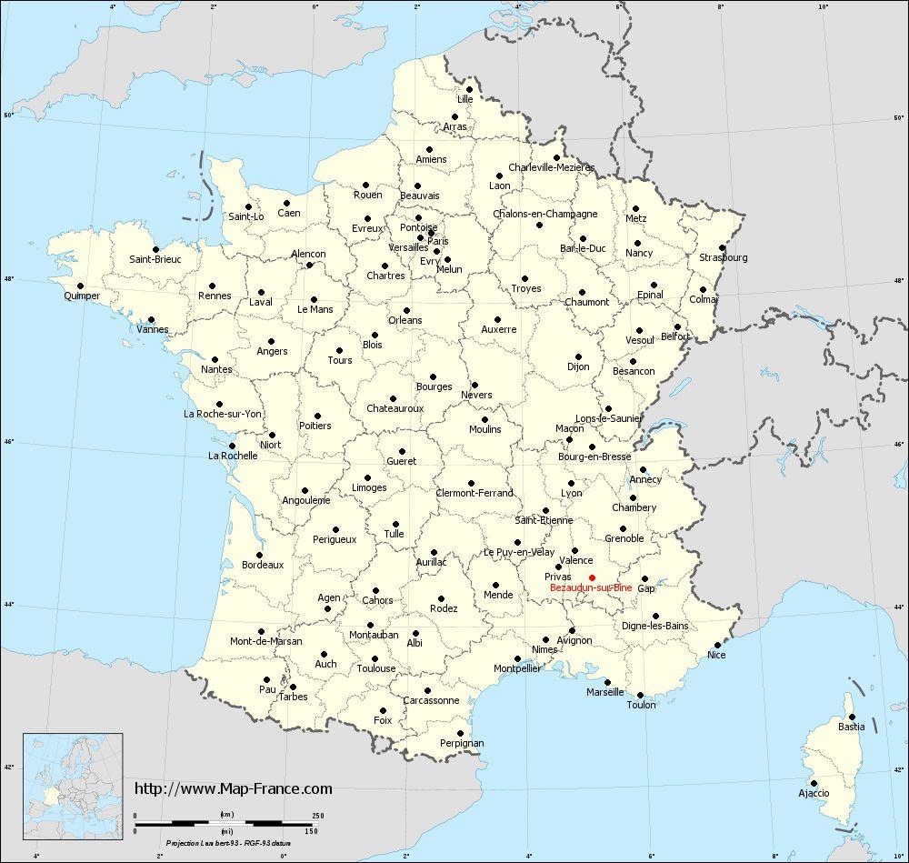 Road Map Bezaudun-Sur-Bine : Maps Of Bézaudun-Sur-Bîne 26460 tout Gap Sur La Carte De France