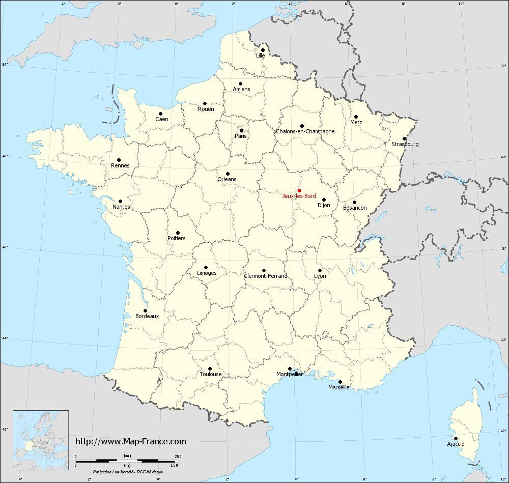 Road Map Jeux-Les-Bard : Maps Of Jeux-Lès-Bard 21460 serapportantà Les Régions De France Jeux