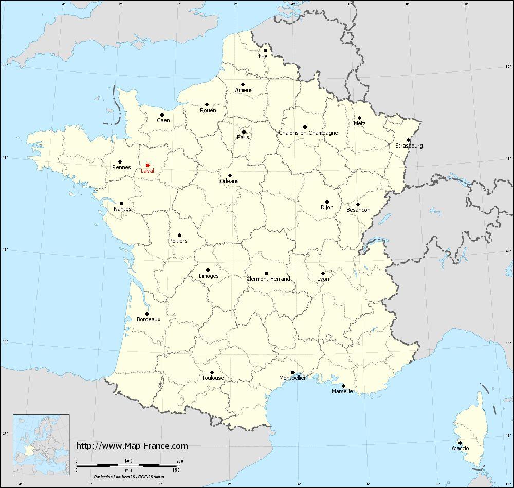 Road Map Laval : Maps Of Laval 53000 serapportantà Map De France Regions