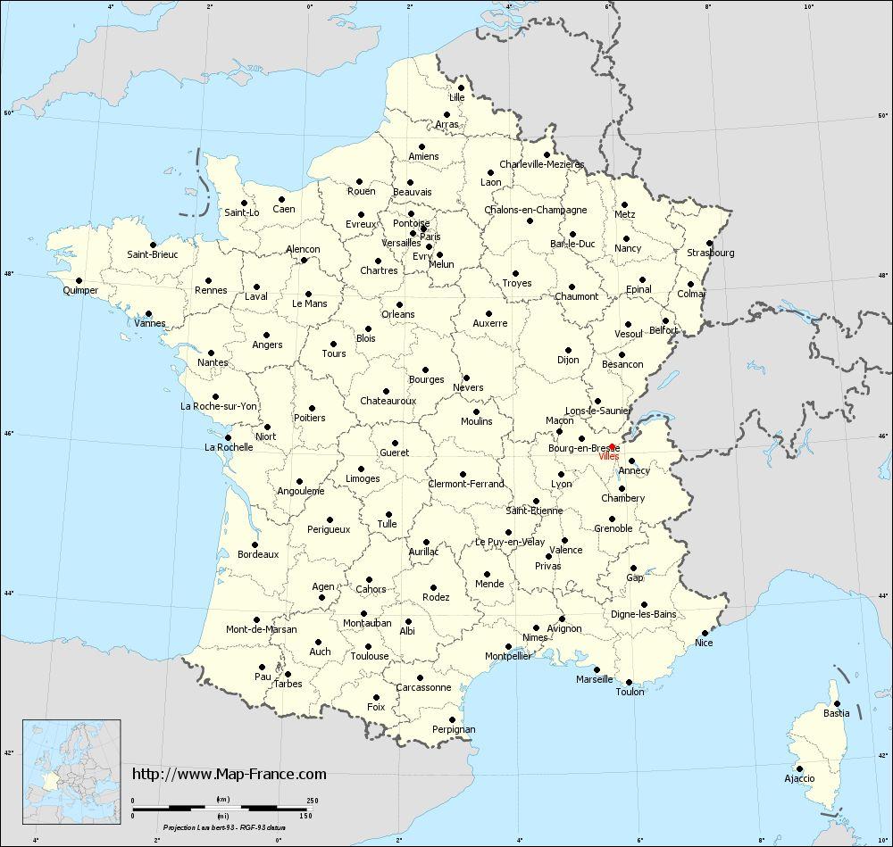 Road Map Villes : Maps Of Villes 01200 tout Carte Des Départements Et Villes