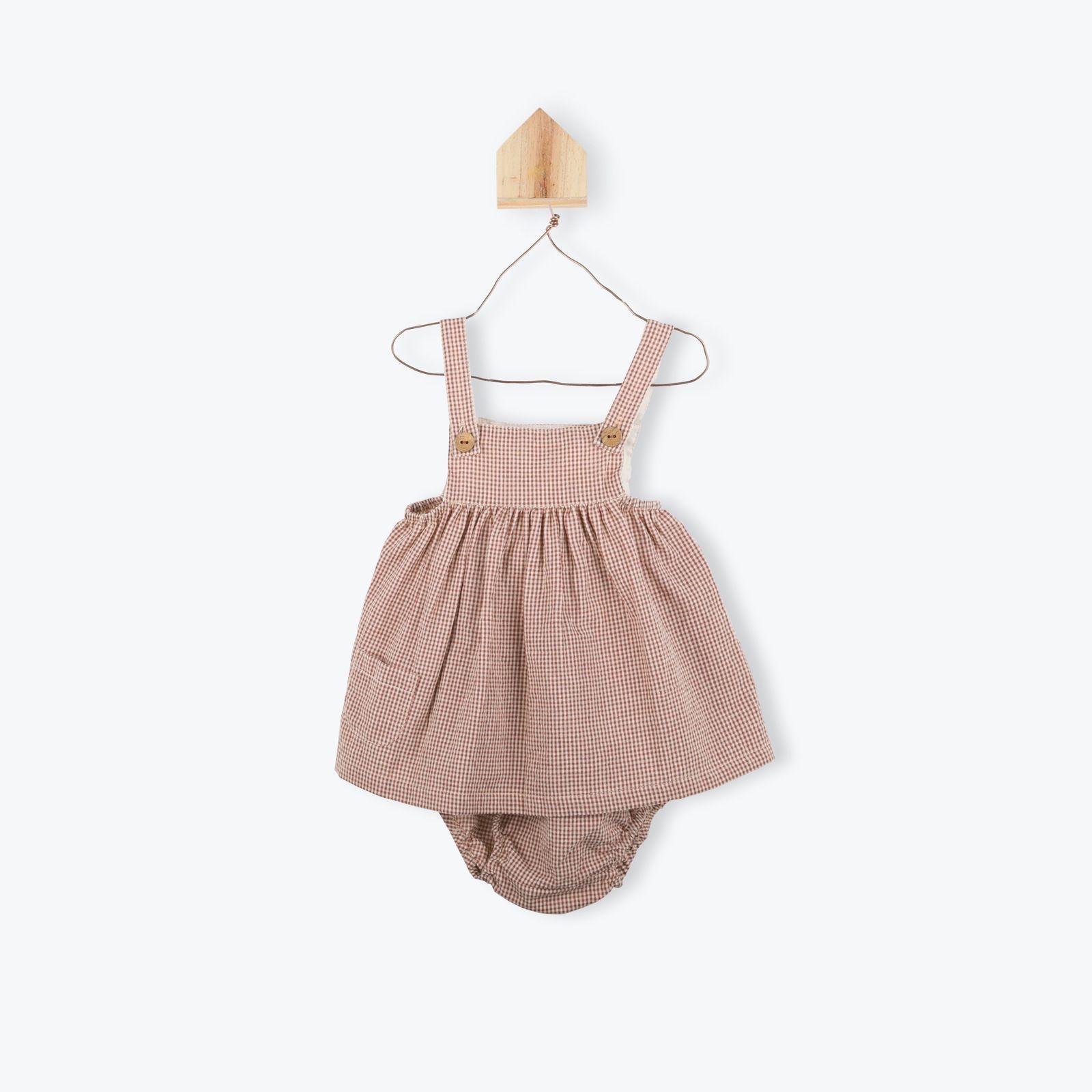 Robe Bloomer Pour Bébé En Seersucker À Carreaux Vichy Brique concernant Brique Pour Bebe