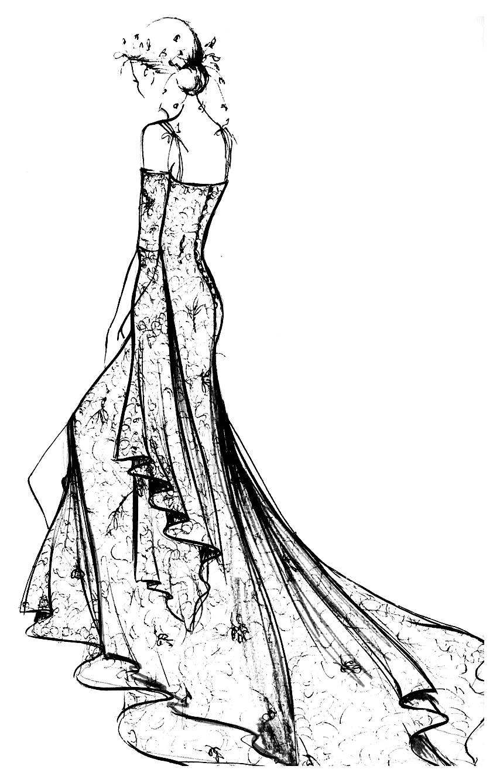 Robe Dentelle Chantilly - Mode, Vêtements Et Bijoux destiné Coloriage De Mode À Imprimer
