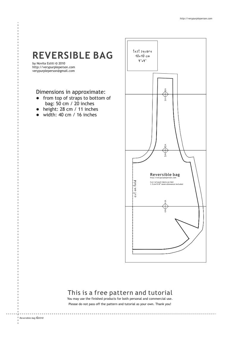Sac-Reversible-Patron.pdf | Sac, Tuto Couture Sac, Tuto avec Patron De Sac Gratuit A Imprimer