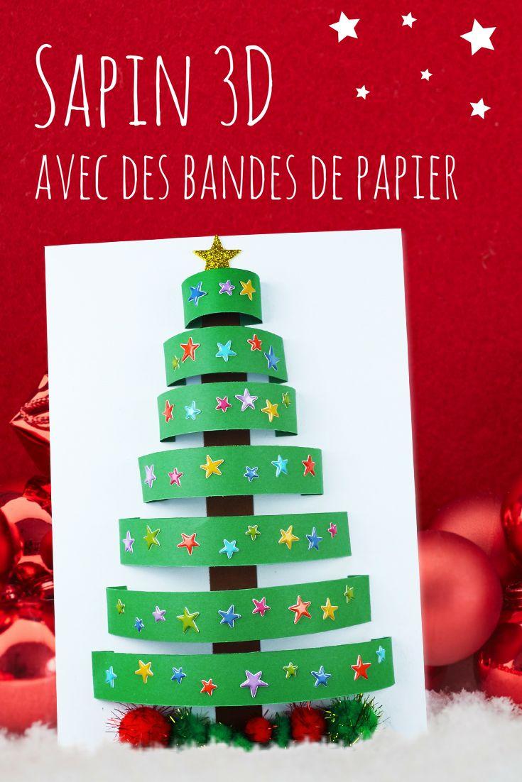 Sapin 3D Avec Des Bandes De Papier - Noël | Activité pour Activité De Noel Maternelle