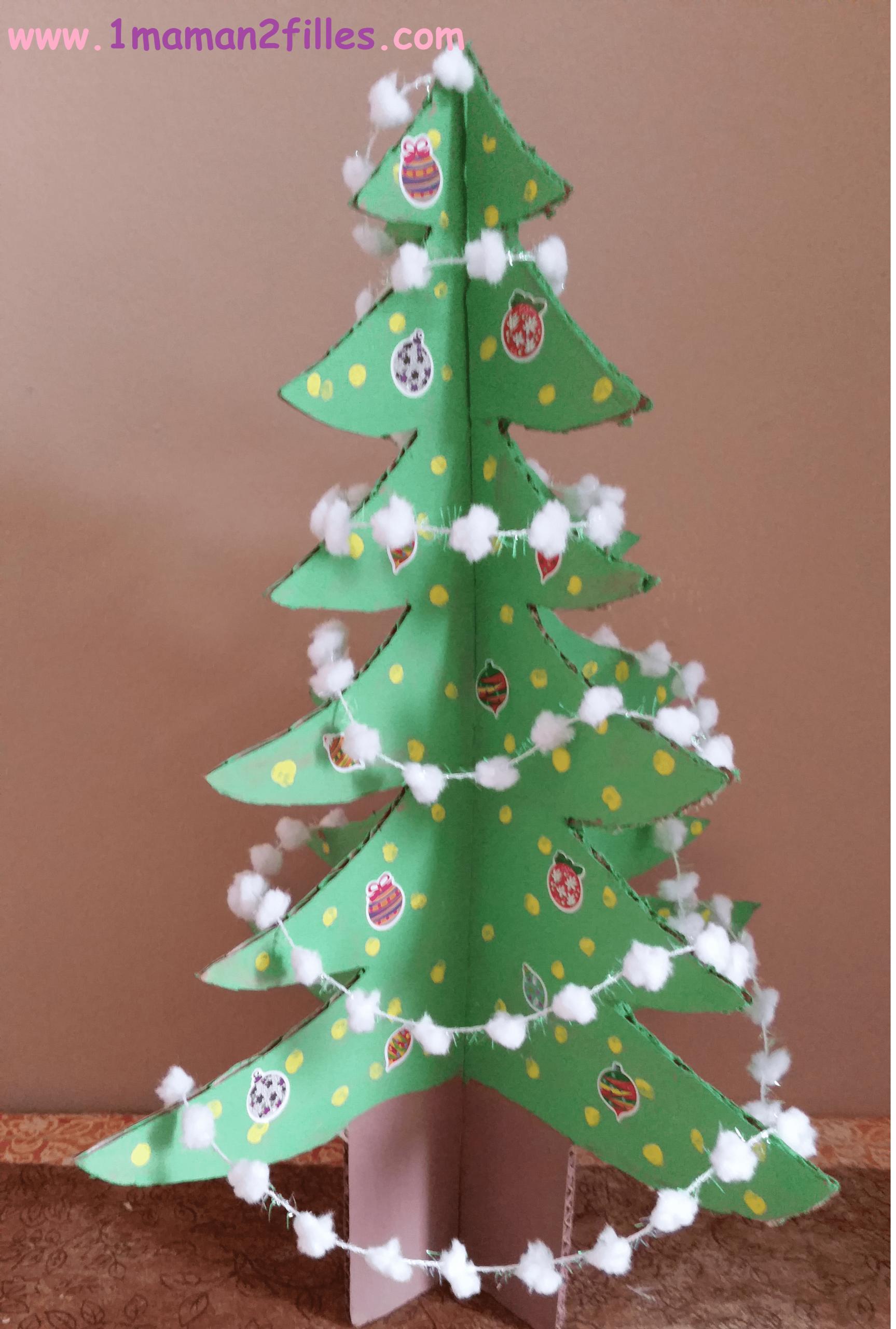 Sapin De Noël Homemade En 3 Dimensions intérieur Activités Manuelles Enfants Noel