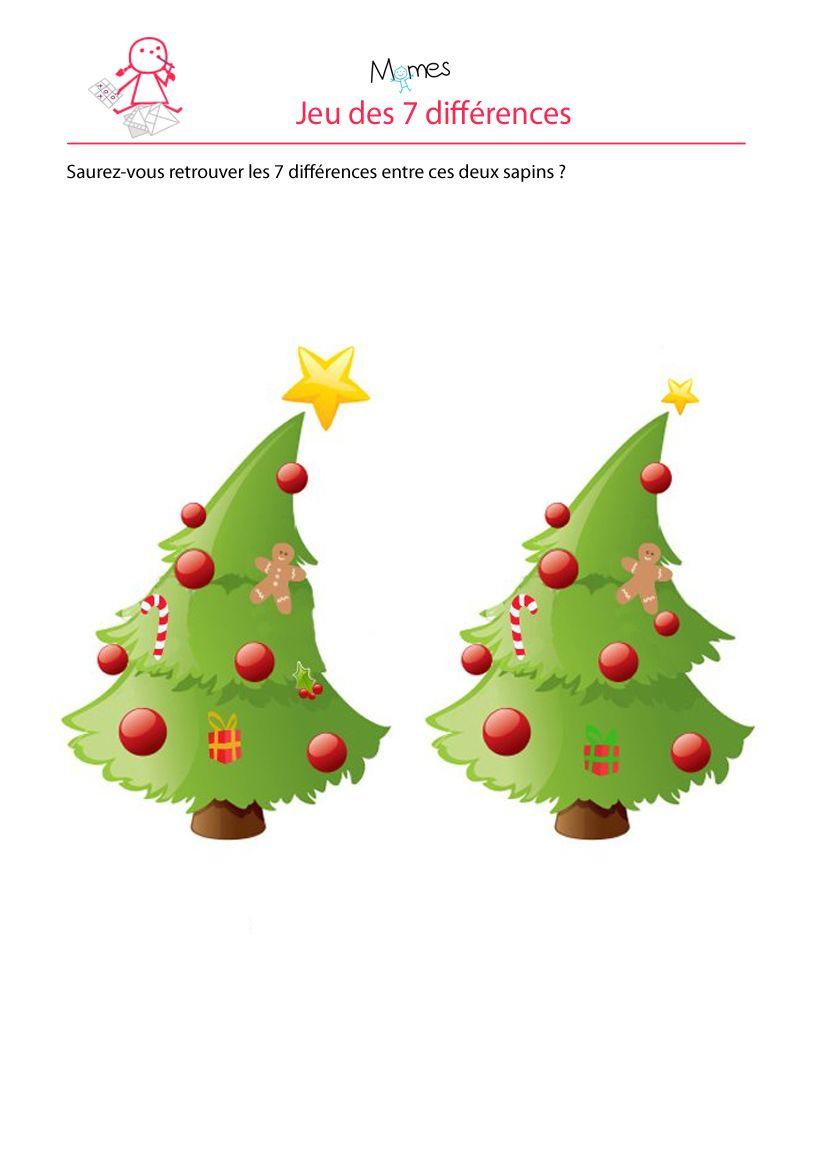 Sapin De Noel : Jeu Des 7 Erreurs | Noel, Jeux Des 7 Erreurs pour Jeu Des Sept Erreurs