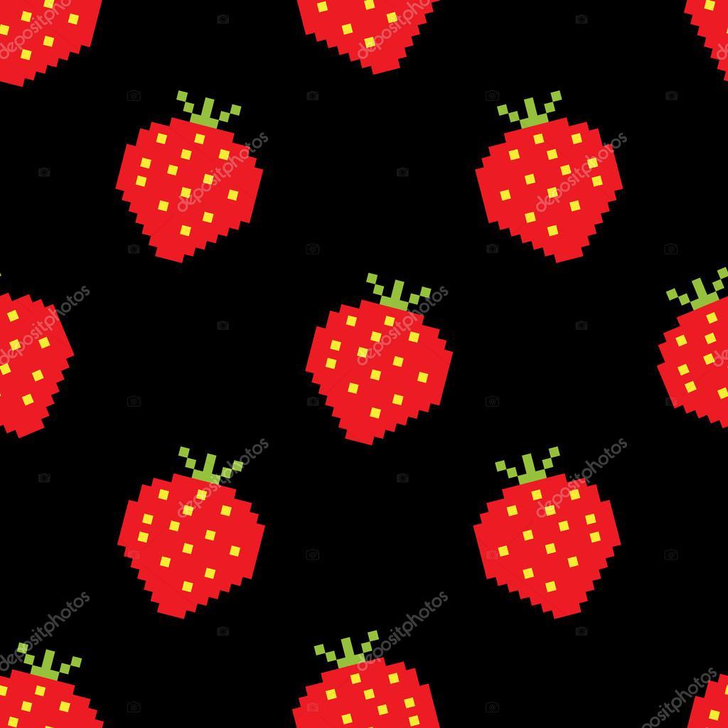 Seamless Background Of Pixel-Art Strawberry — Stock Vector tout Pixel Art Fraise