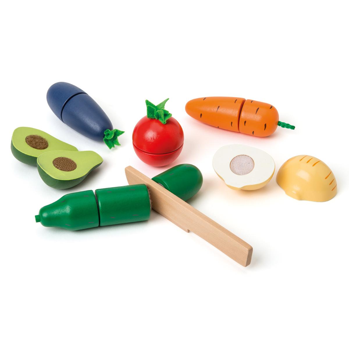 Set De 6 Légumes En Bois À Découper concernant Jeux De Fruit Et Legume Coupé