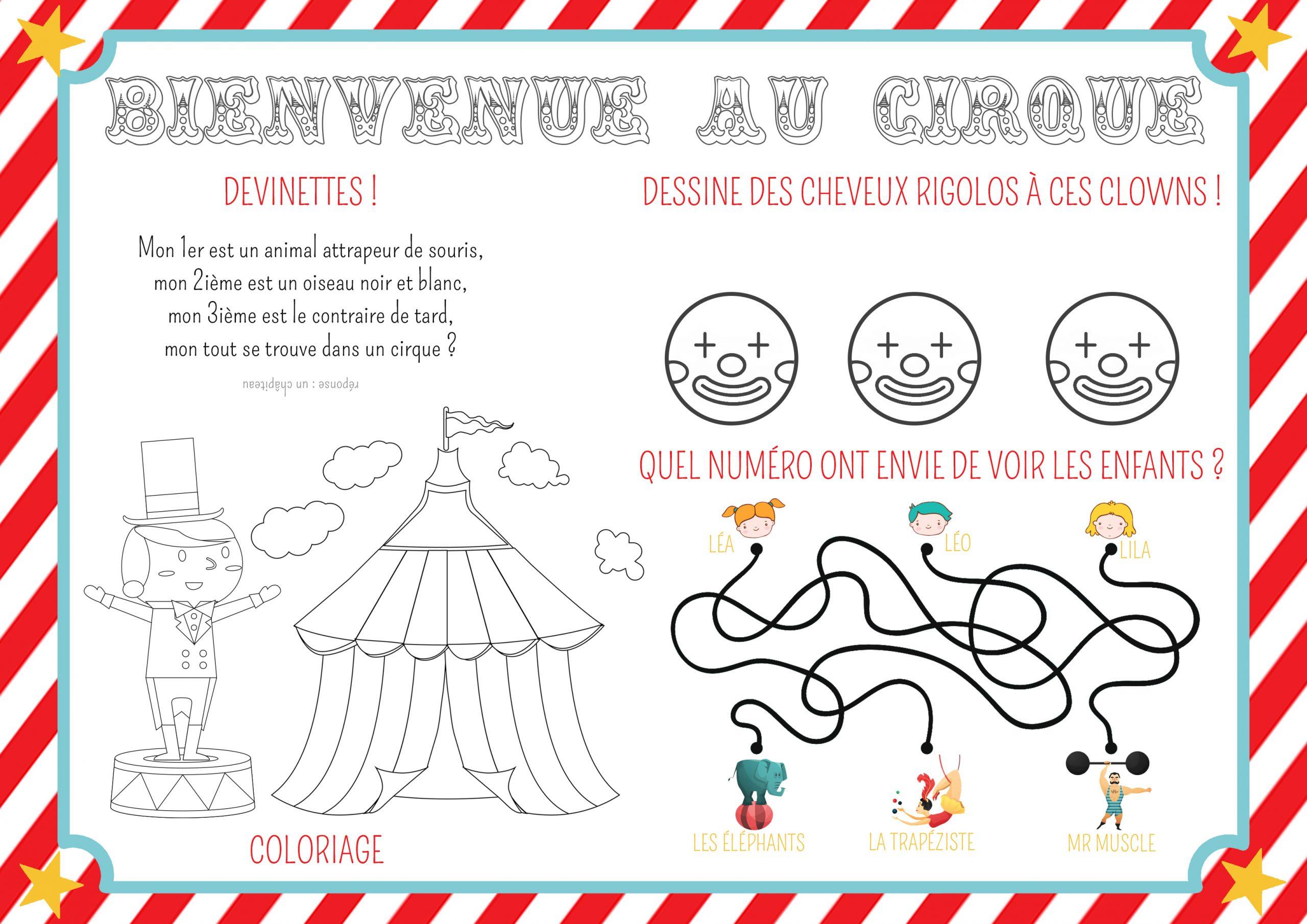 Set De Table Anniversaire Cirque À Colorier - Momes avec Charade A Imprimer