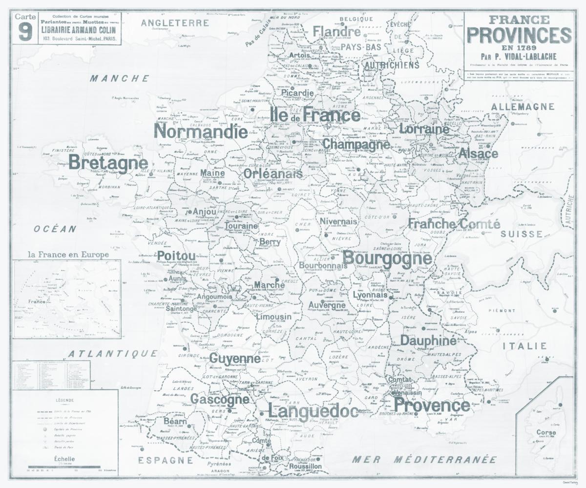 Set De Table Carte Scolaire Vidal Lablache N°9 - France - Provinces En 1789 à Carte Anciennes Provinces Françaises