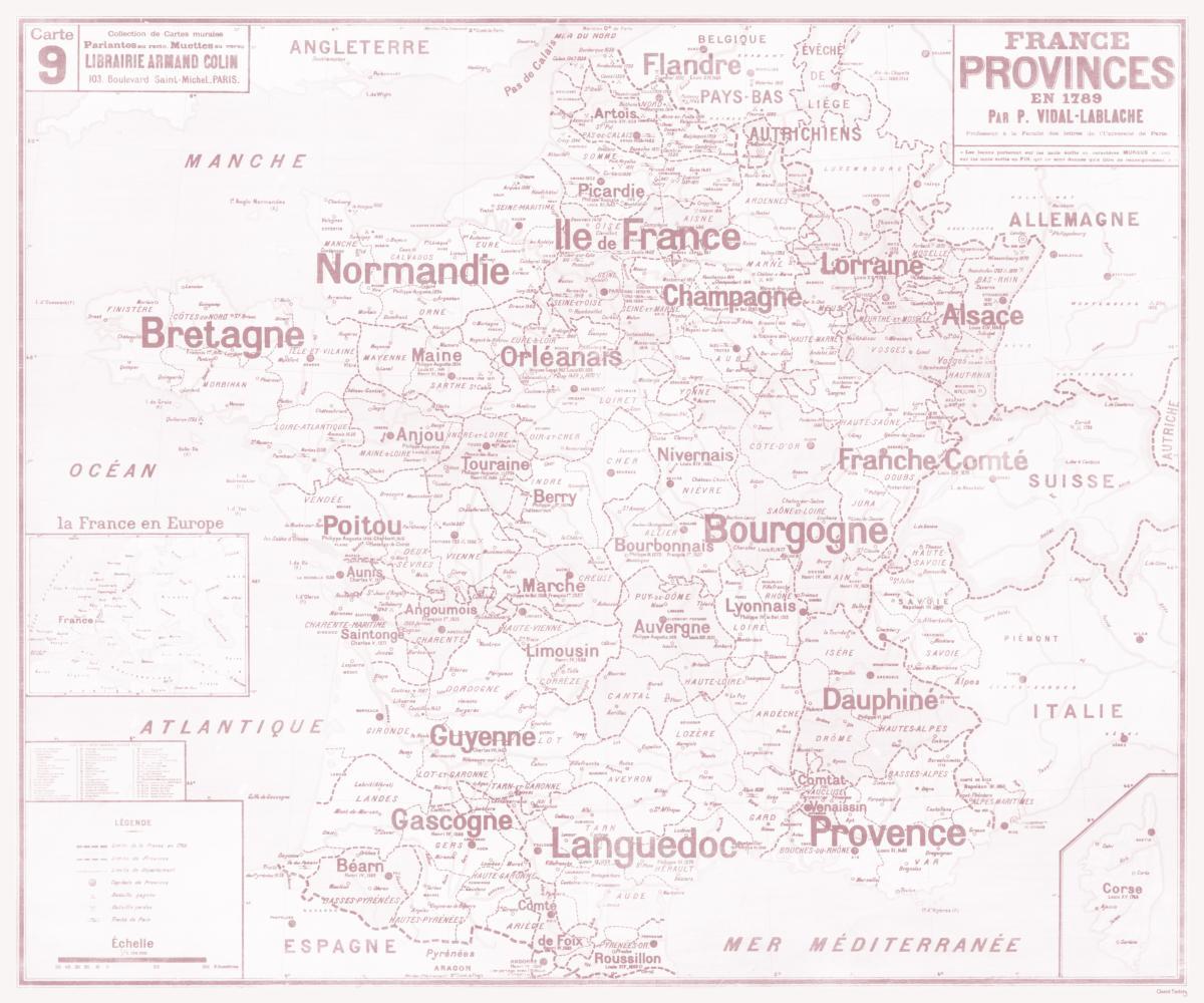 Set De Table Carte Scolaire Vidal Lablache N°9 - France - Provinces En 1789 encequiconcerne Carte Anciennes Provinces Françaises
