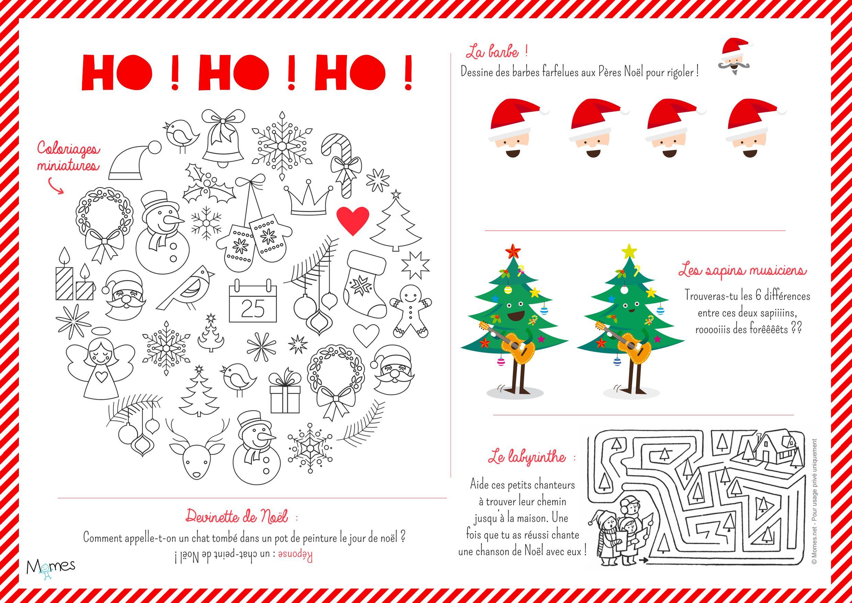 Set De Table De Noël À Imprimer Et Colorier | Devinette De pour Jeux Garçon 6 Ans Gratuit En Ligne