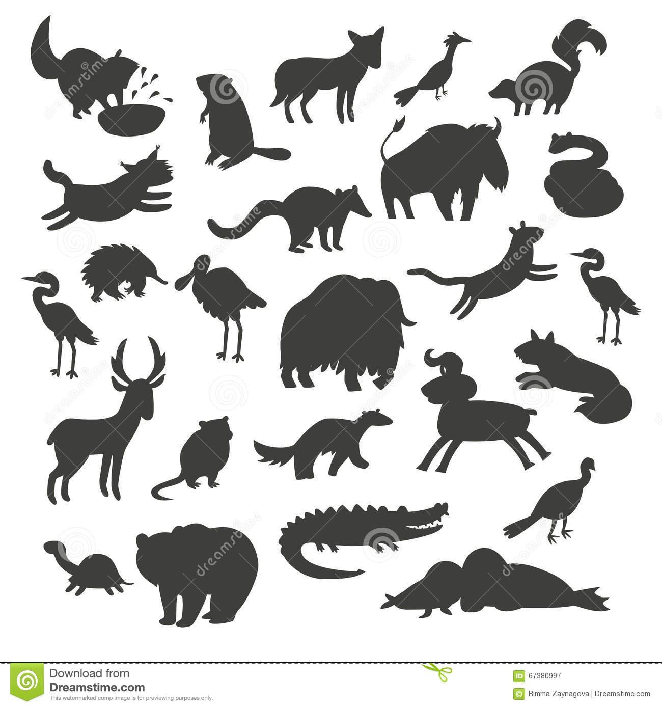 Silhouettes D'animaux De L'amérique Du Nord, D'isolement Sur pour Silhouette D Animaux À Imprimer