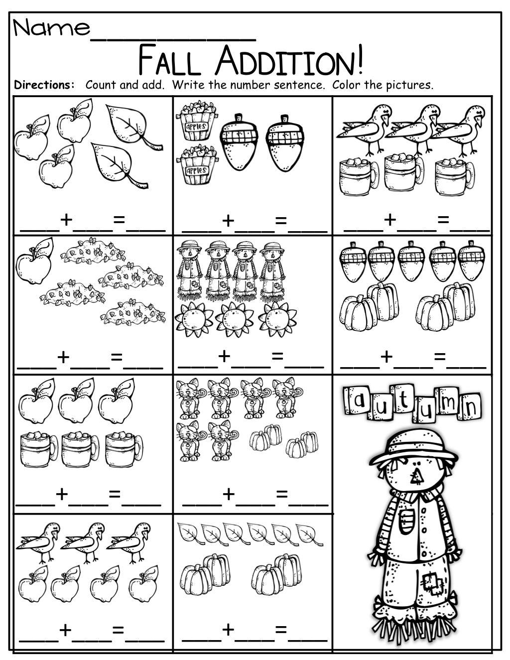 Simple Addition Sentences For Fall! | Mathématiques encequiconcerne Addition Maternelle