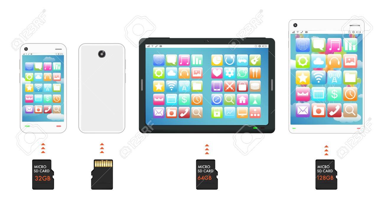 Smartphone Et Tablette Avec Micro Sd Carte Mémoire concernant Carte Memoire Tablette