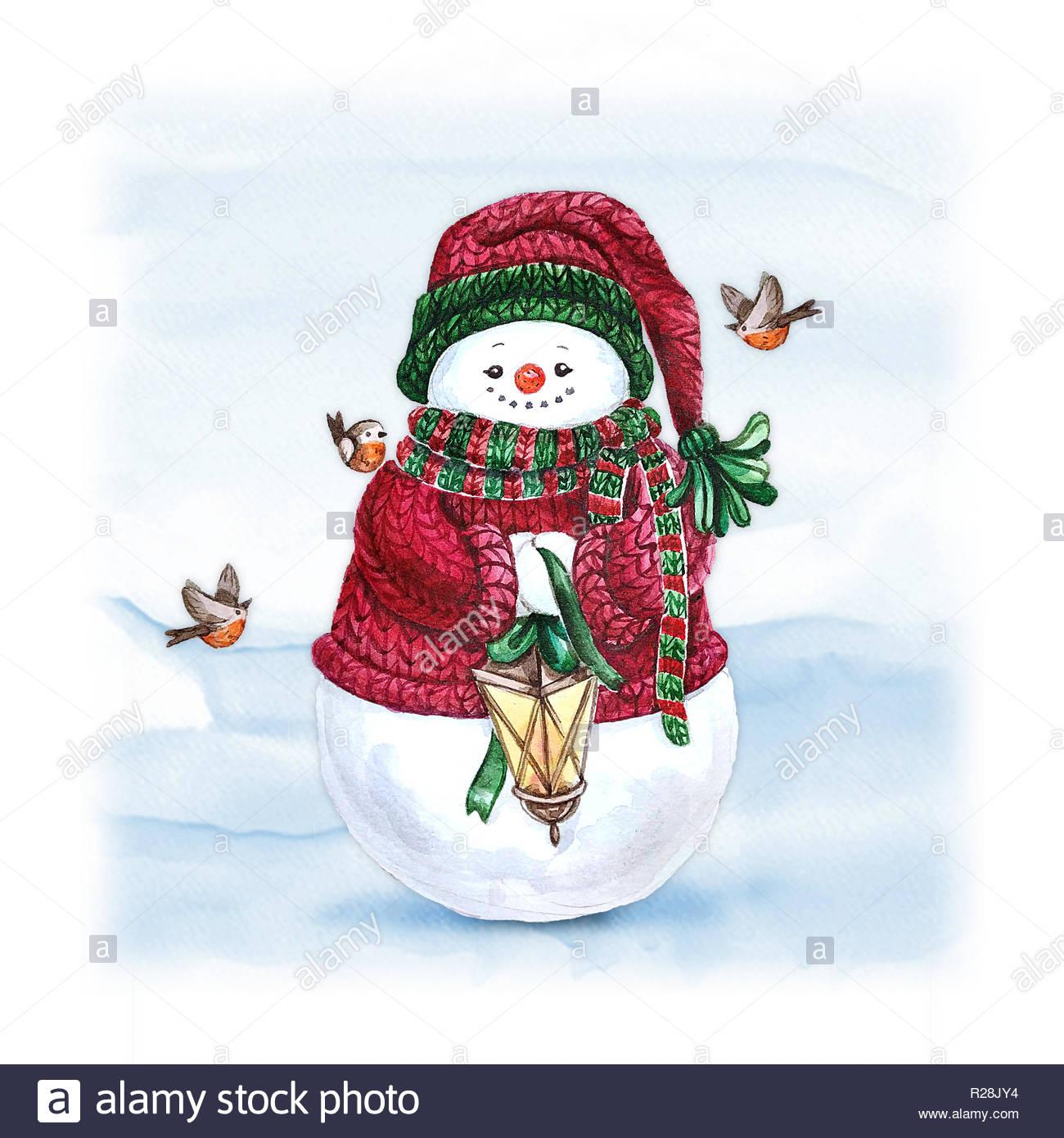Snowman Aquarelle Avec Lanterne. Maison De Vacances Imprimer encequiconcerne Décorations De Noel À Imprimer