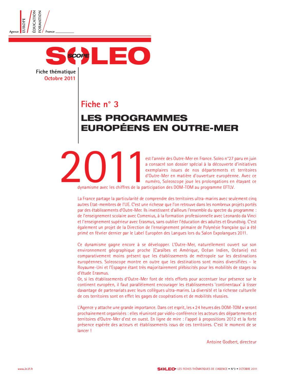 Soleoscope 3 - Les Programmes Européens En Outre-Mer By serapportantà Les Numéros Des Départements