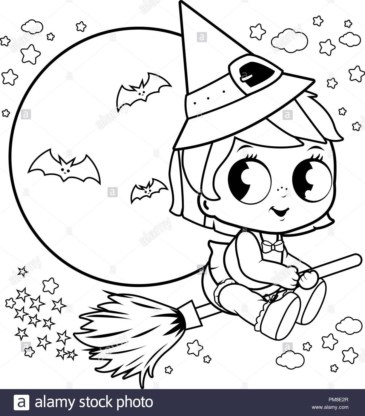 Sorcière Halloween Bébé Voler Avec Un Balai Dans Le Ciel concernant Coloriage Balai