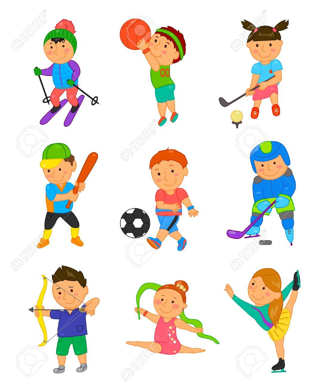 Sport Cartoon Enfants. Vector Illustration Pour La Conception De Jeux Pour  Enfants. Garçon, Fille Isolé Sur Fond Blanc. Set De Clip Enfant Art Mignon à Jeux Pour Garçon Et Fille