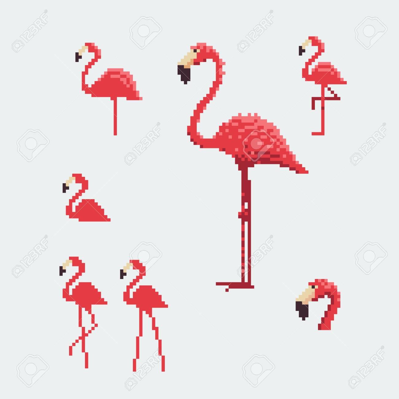 Stock Illustration pour Pixel Art Flamant Rose