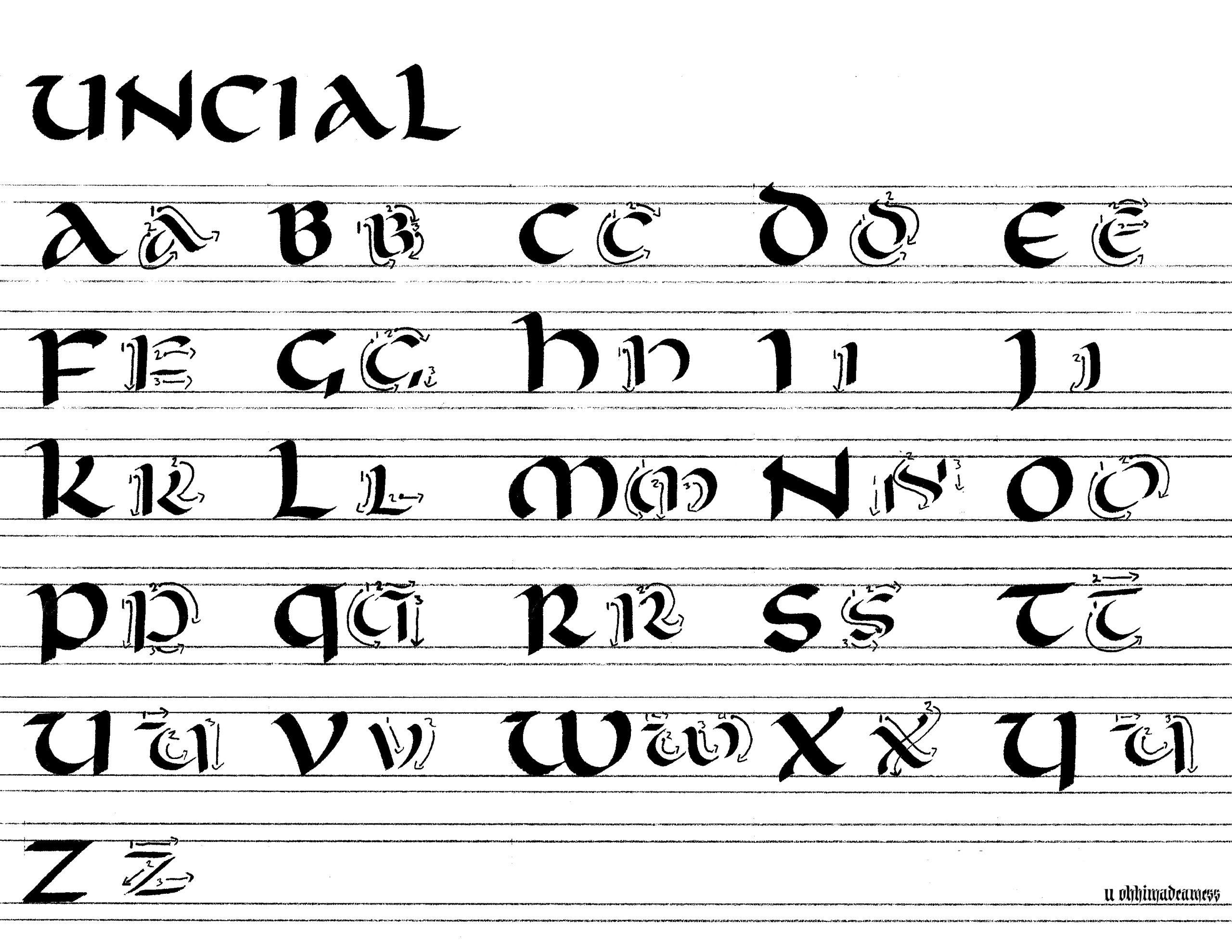 Study Sessions - Uncial - Part 2 - Majuscule : Calligraphy serapportantà Majuscule Script