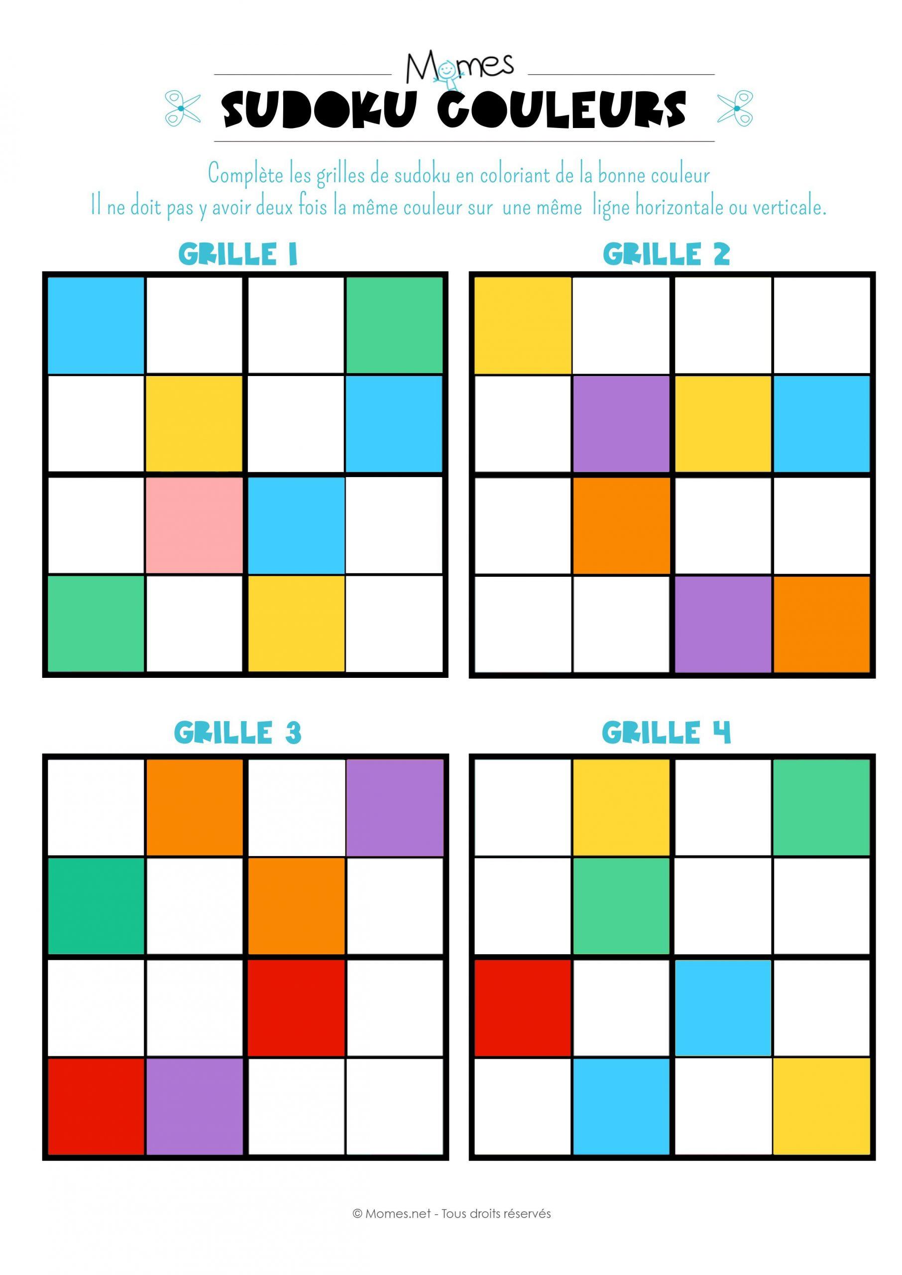 Sudoku Des Couleurs   Sudoku, Sudoku Enfant Et Jeux A Imprimer destiné Grille Sudoku Gratuite À Imprimer