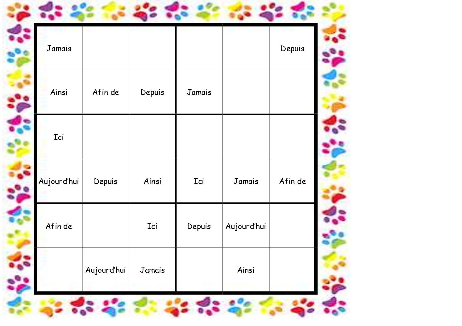 Sudoku Des Mots Invariables à Jeux Pour Cm2