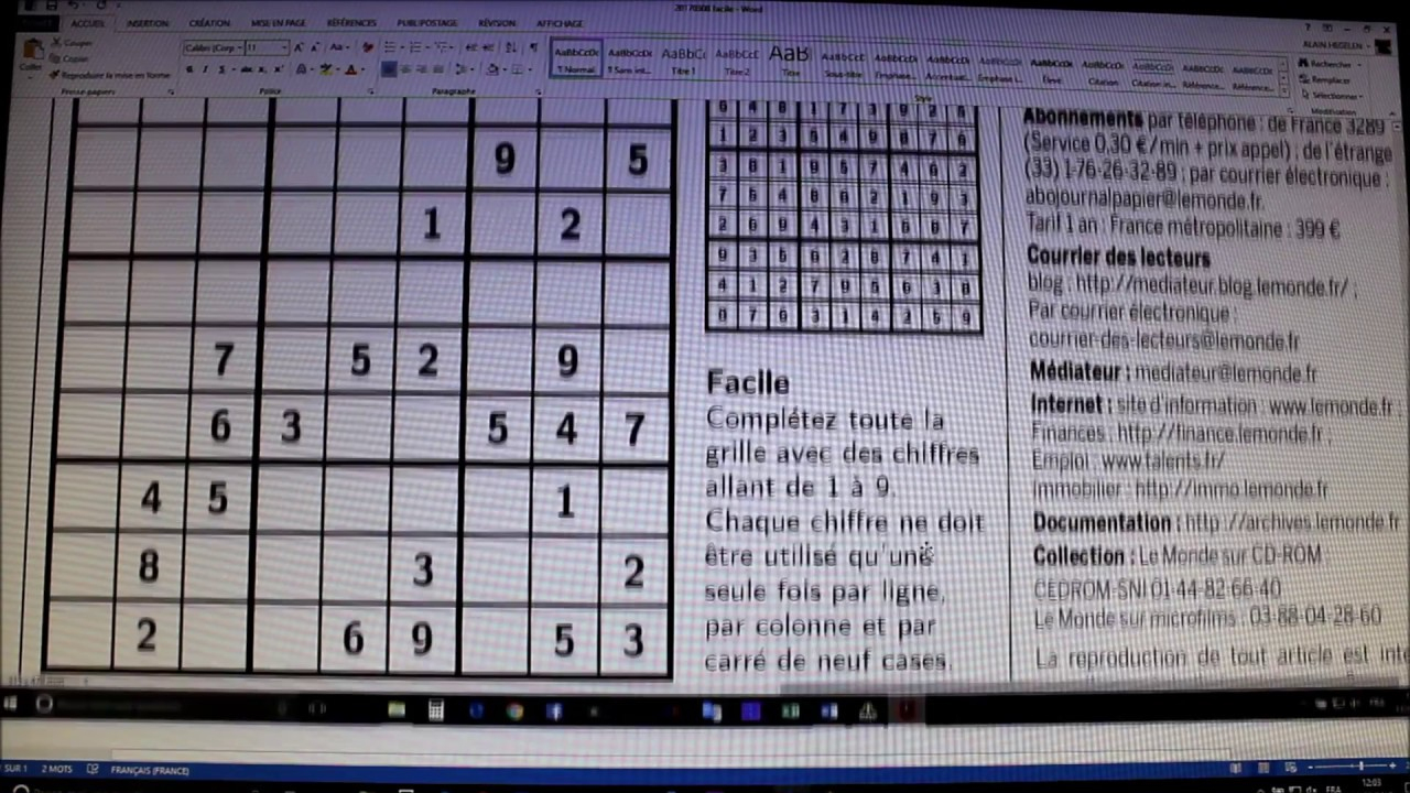 Sudoku - Le Film - Explications 1Ère Partie serapportantà Sudoku Facile Avec Solution