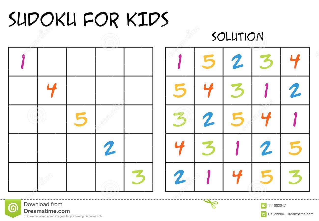 Sudoku Pour Des Enfants Avec La Solution - Avec Des Nombres intérieur Sudoku Facile Avec Solution