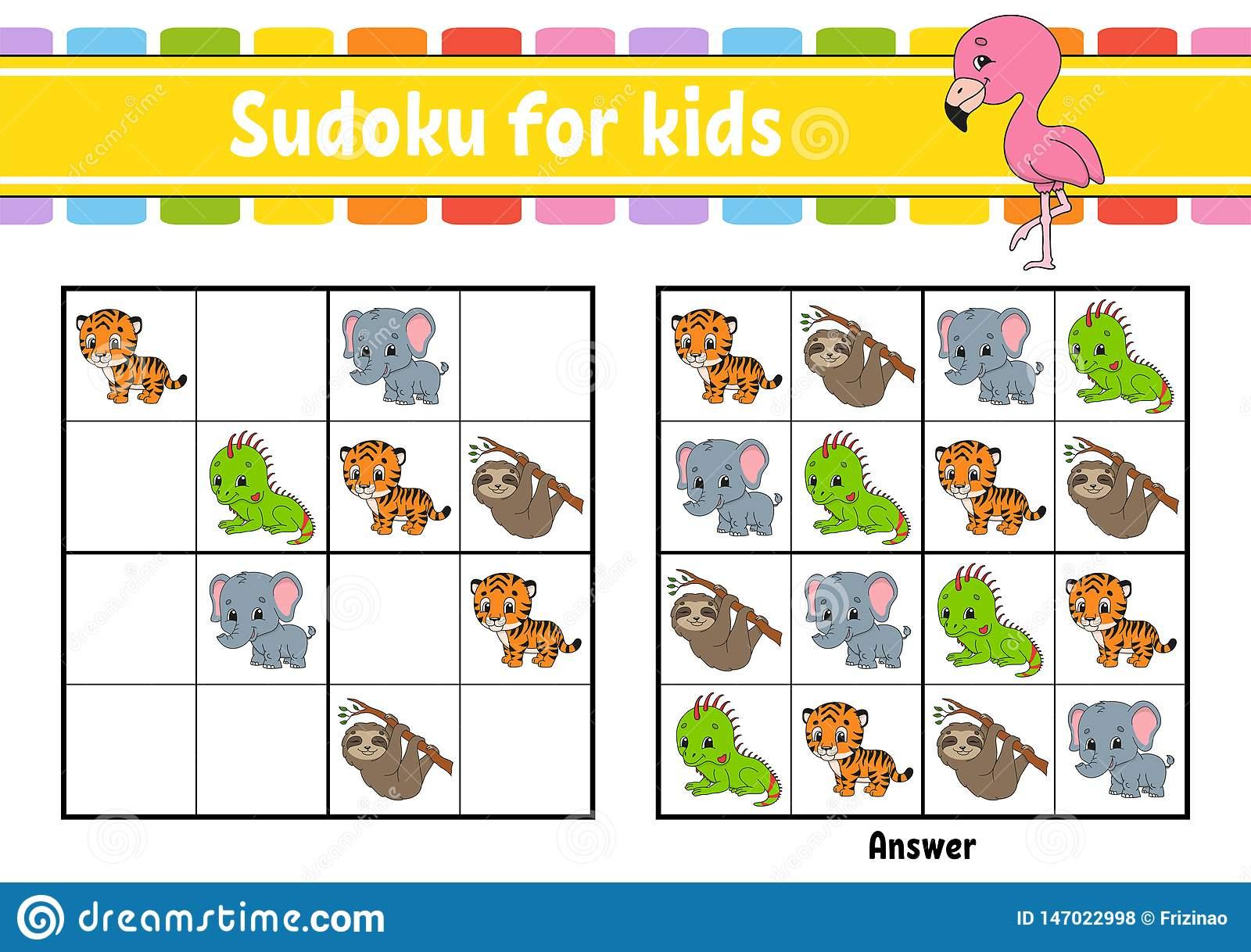 Sudoku Pour Des Gosses Fiche De Travail Se D?veloppante D intérieur Jeux De Puzzle Enfant