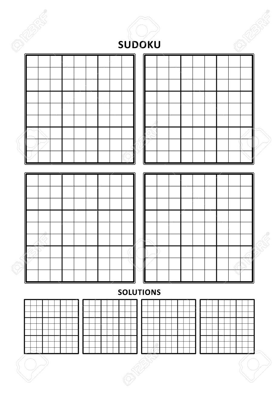Sudoku Puzzle Blank Template, Four Grids With Solution Grids,.. pour Sudoku Vierge
