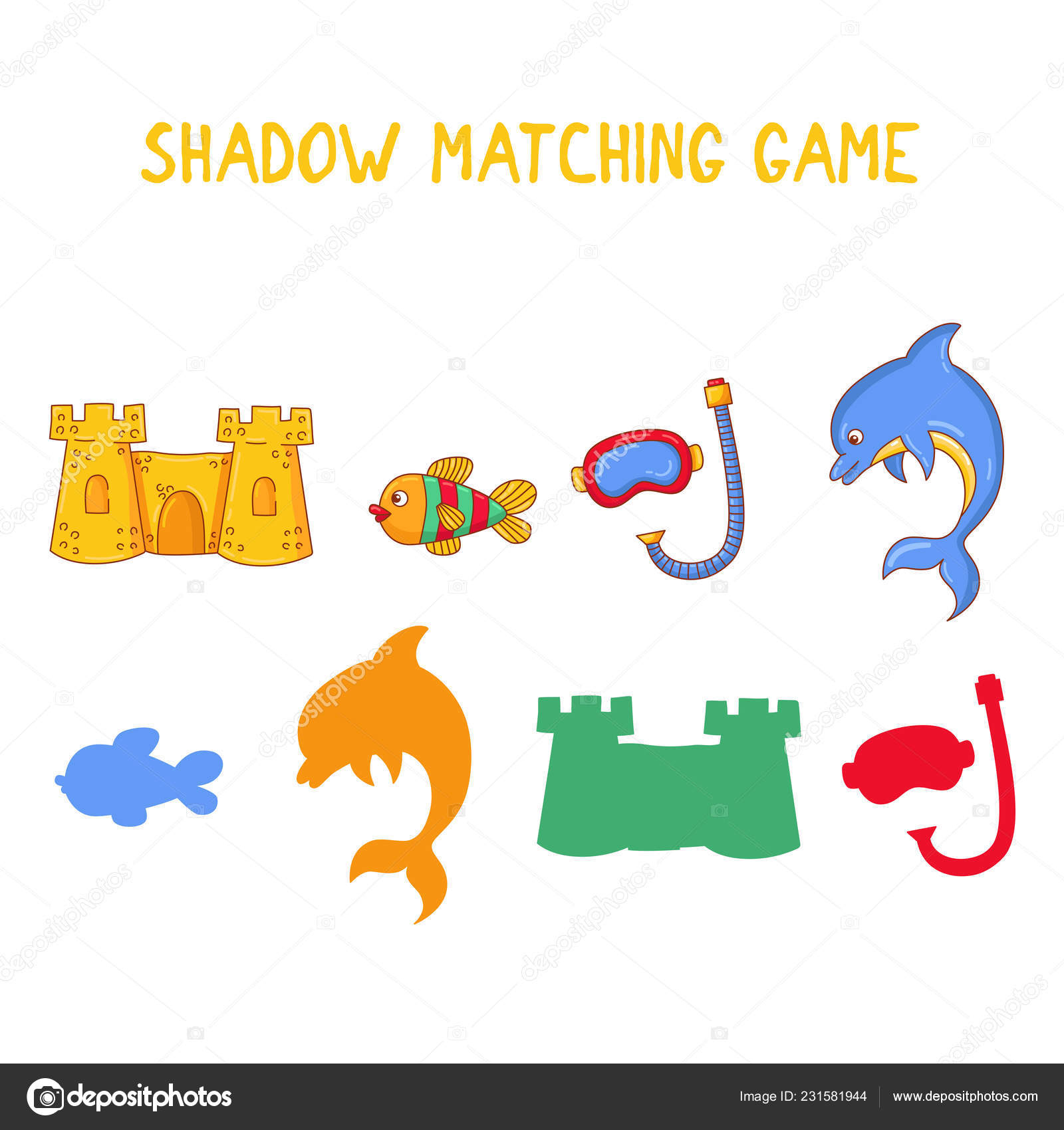 Summer Shadows Matching Game For Kids Vector Quiz — Stock à Quiz Des Ombres
