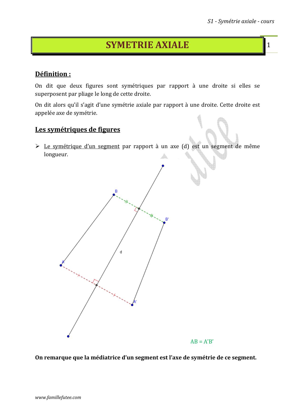 Symetrie Axiale pour Symétrie Axial