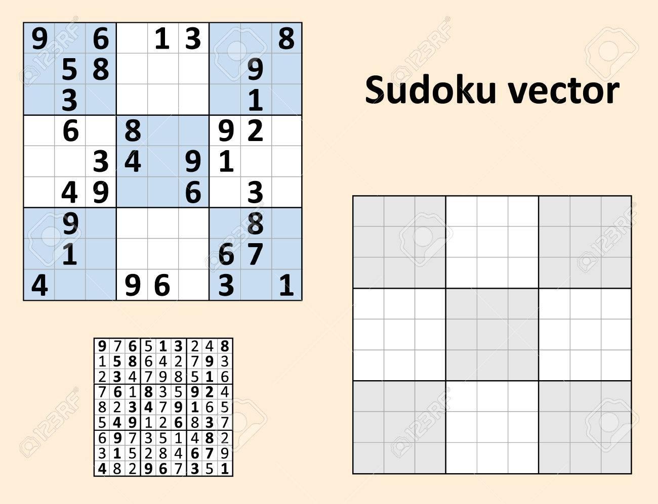 Symétrique Sudoku Avec Des Réponses. Définir Modèle Vierge. dedans Sudoku Vierge