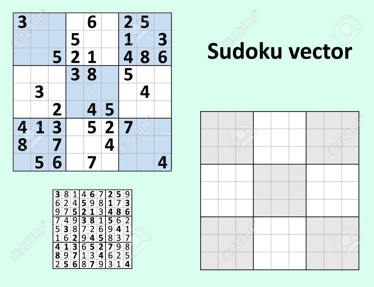Symétrique Sudoku Avec Des Réponses Vector Set. Modèle Vierge. concernant Sudoku Vierge