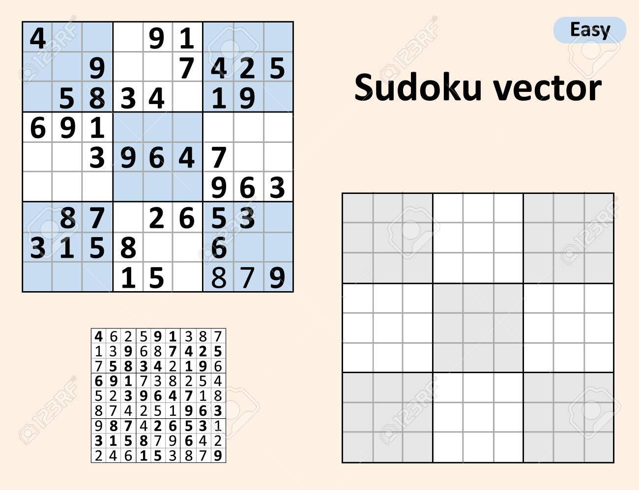 Symétrique Sudoku Avec Des Réponses. Vector Set Sudoku. Modèle Vierge. avec Sudoku Vierge