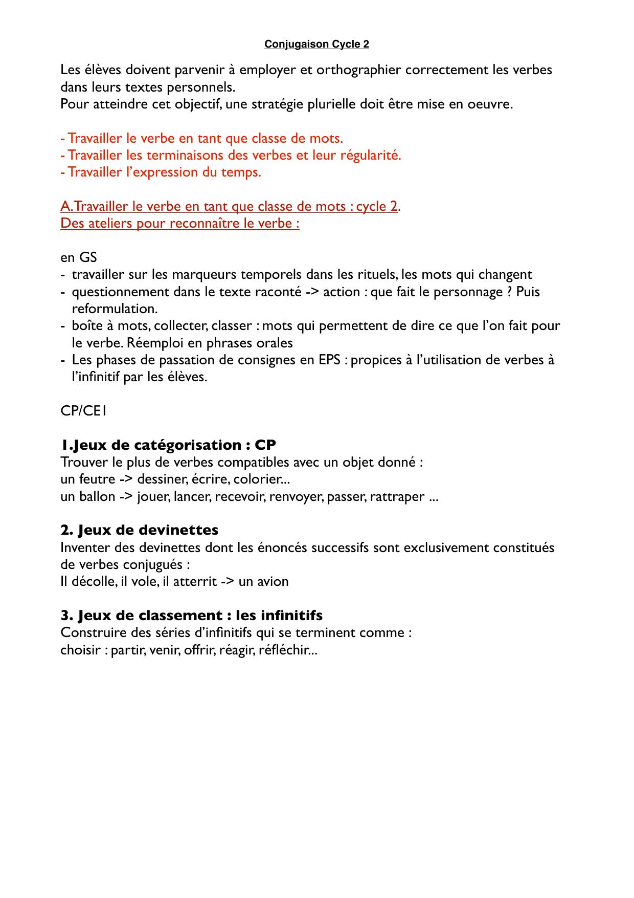 Synthèse Grammaire Conjugaison. dedans Verbe Jeux