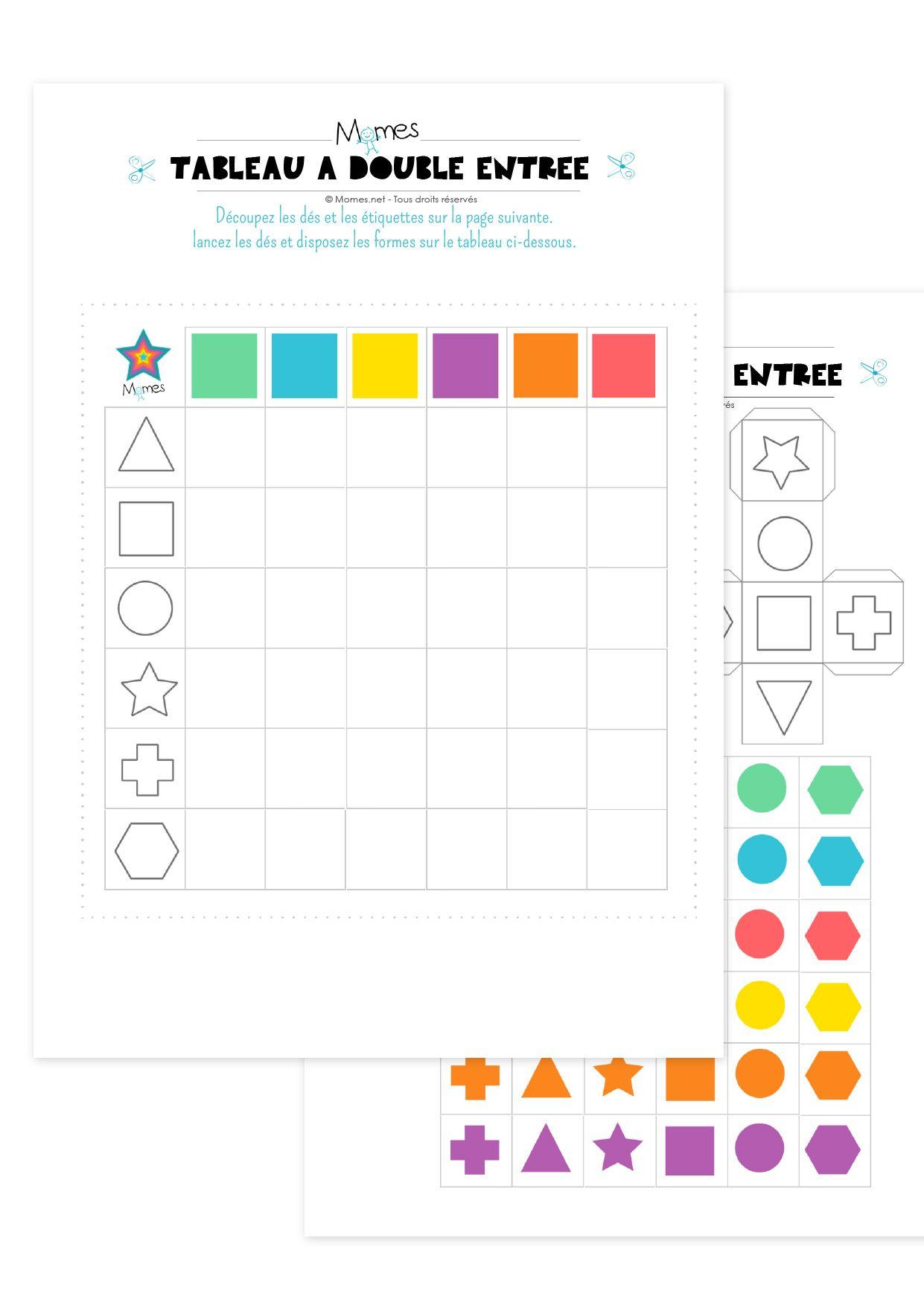 Tableau À Double Entrée : Formes Et Couleurs | Tableau À destiné Formes À Découper Maternelle