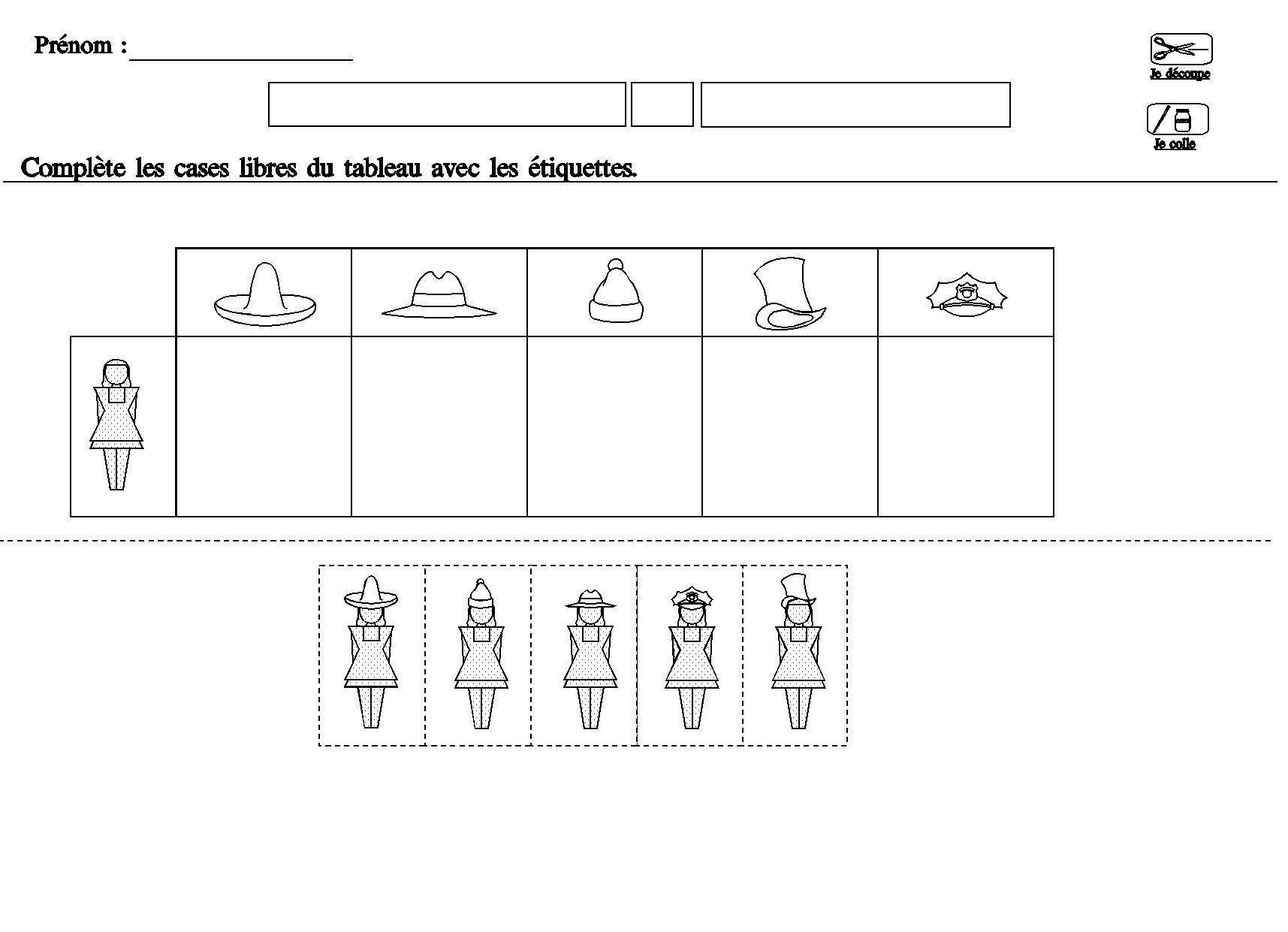 Tableau Double Entrees Pour Maternelle Moyenne Section dedans Fiche Maternelle Grande Section